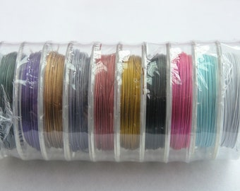 10 Rolls Mix-colors Stainless Steel Tiger Tail Beading Wire Accu Flex Beading Wire Size 0.38mm 10meters/roll