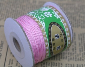 1Roll 125m/136YD Baby Pink Chinese Knotting/Beading Silk Cord/Thread 1.0mm
