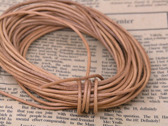 10 YARD of Size 2.0mm Round Natural Color Real Leather Cord Without Clasp Lobster