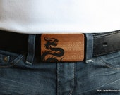 Reserved Listing - Black epoxy resin dragon inlay on mahogany belt buckle