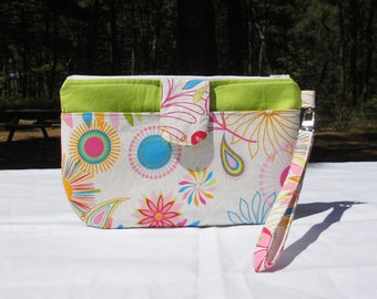 SALE- Clutch Wristlet with Detachable Strap, Bright Flowers