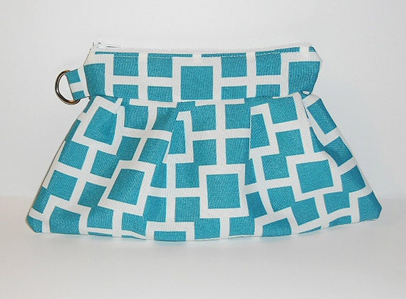 Half gathered clutch in Teal with Squares