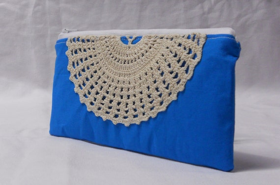 Teal blue pouch with vintage lace doily accent