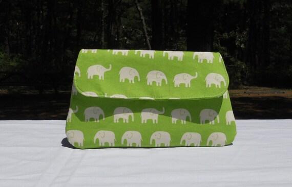 SALE 25% OFF Simple clutch purse, green, elephants
