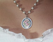 Vintage Floral Cameo and Pearl Necklace
