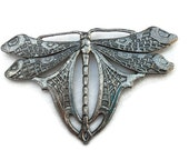 Large 1980's Vintage Butterfly Brooch