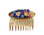 Vintage 1980's Butterfly Cloisonne Hair Slide