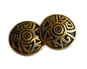 Vintage Bronze Clip-On Earrings