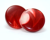 Big red round button earrings