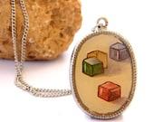 MaayanART - Cube Game - Girl Necklace - Original Oil painting Pendant