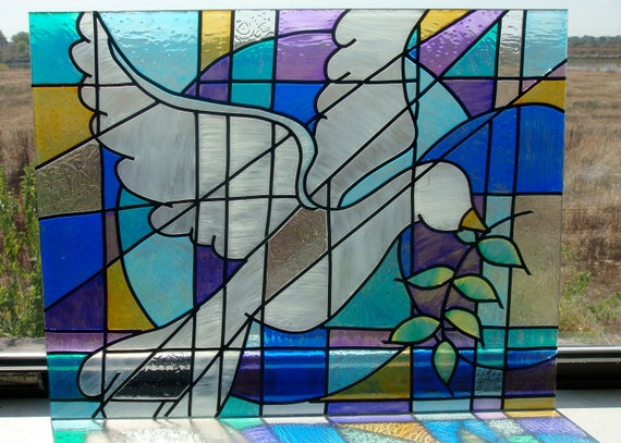 FAUX stained glass Peace Dove panel 19x14 3/4