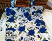 Skull and Blue Roses Tote Shopping Bag