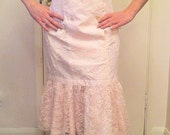 Vintage 1980's Pink & White Double Breasted Fitted Rose Detail Lace Dress size US 14