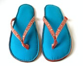 Handmade Flip Flop Sandals Puffy Slippers in Blue Cotton with neon Green and Orange Cotton Straps