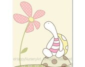 Girls nursery wall art print pink turtle and flower cute illustration for children room baby shower gift