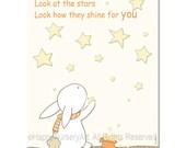 Children baby housewares nursery wall art kids decoration art print beige off white bunny stars