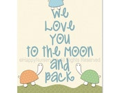 baby boys wall art, love quote art print, nursery decor, turtles, love you to the moon, children art print