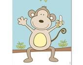 Monkey nursery wall art print, baby boys room decor