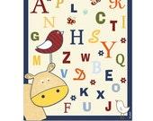 ABC letters nursery art, hippo, birds, animals, navy blue, red, yellow, alphabet boys nursery art, picture for kids room, children decor