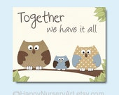 Nursery art print, kids wall art, owls wall art, brown beige light blue decor