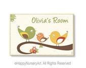 Personalized nursery door sign, birds, yellow, green, orange, kids door plaque, custom name,door sign custom, nursery art,kids door plaque