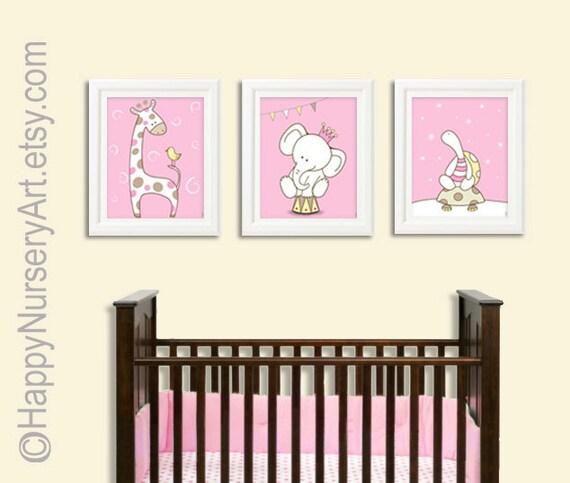 Pink nursery art,pink nursery decor, Kids wall art , nursery decor, set of 3 ,girl nursery decor, children art print, newborn nursery art
