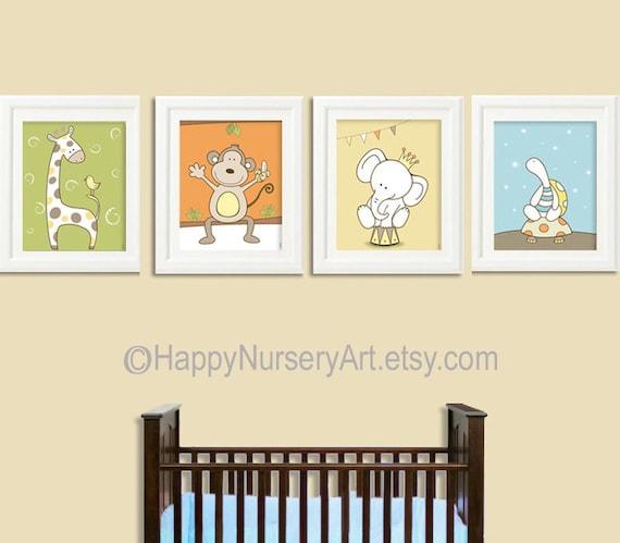 Nursery art prints, nursery art,baby nursery, kids room decor, nursery wall art, kids art, safari animals, giraffe, elephant, monkey, turtle