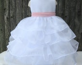 Reserved for Jessica  Ruffle Organza Gown 3T Begonia sash with Beaded Embroidered Overlay