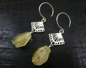 Nature Citrine Nuggets Sterling Silver Dangle Earrings