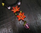 multi color Cubic Zirconia beaded flower necklace