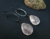 Rose Quartz Earrings--Sterling Silver