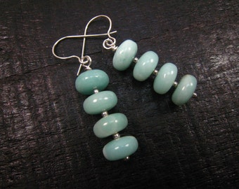 amazonite earrings,sterling silver