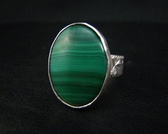 Malachite Gemstone ,Fine Silver,Bezel-set Ring