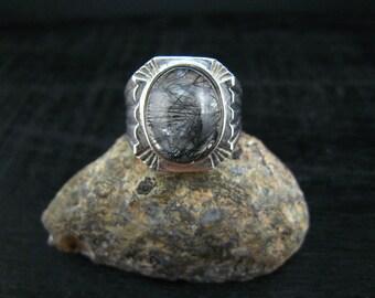 black rutilated ring,fine silver