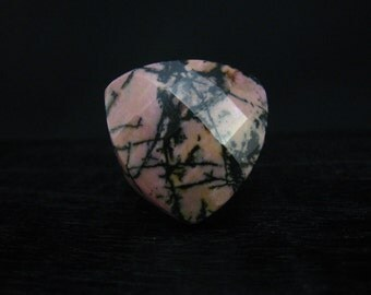 Black Line  Rhodonite Heart Shape Ring-9