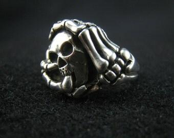 skeleton ring/skull ring,sterling silver