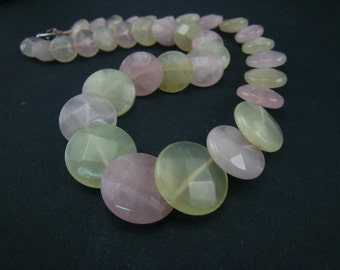 Rose quartz and New Jade overlapped Necklace