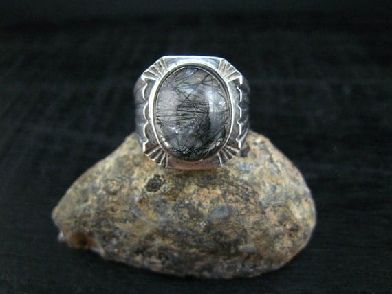 black rutilated ring,fine silver