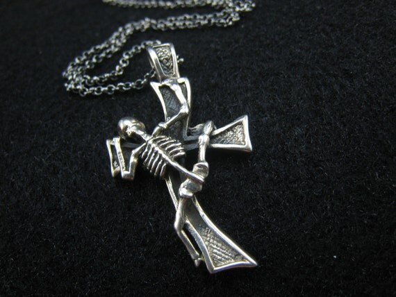 cross and skeleton,sterling silver pendant