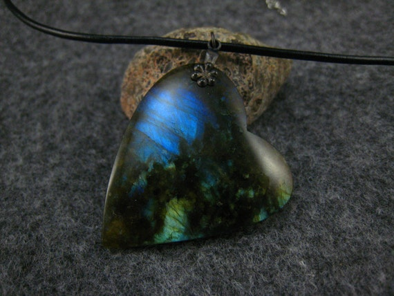 reserved--Labradorite  pendant,black leather cord