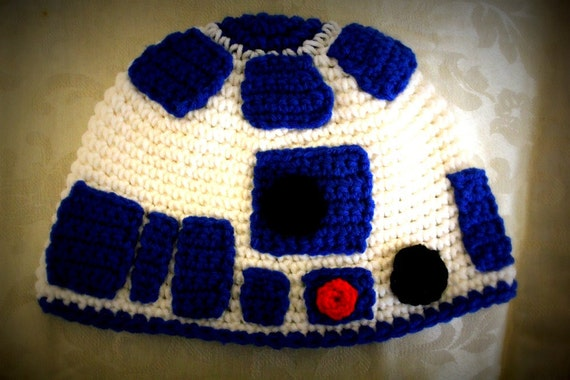 R2d2 Hat Knitting Pattern : R2D2 inspired hat for child to adult PDF crochet pattern-INSTANT DOWNLOAD fro...