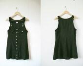 Mini Forest green overalls dress (M/L)