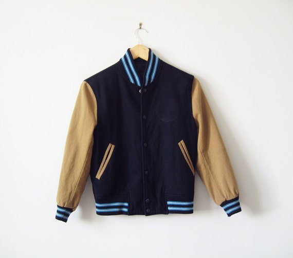Navy blue and brown Varsity jacket (S)