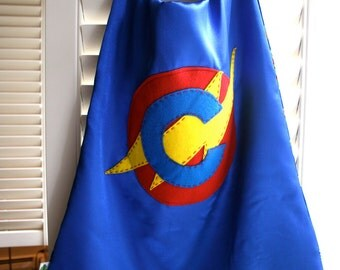 Blue Superhero Cape Boys Costume -PERSONALIZE/CUSTOMIZE -Choose the Initial - Superhero Birthday Party Costume