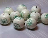 Large Wooden Floral Painted Beads - Green