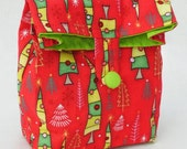 Red Dancing Christmas Trees Cotton GiftAgain Mini Fabric Gift Bag