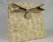 Cream Taupe Poinsettia Christmas Fabric Gift Bag GiftAgain