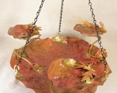 Hanging Copper Bird Bath with Three Cups, Leaves and Flowers Copper Garden Art