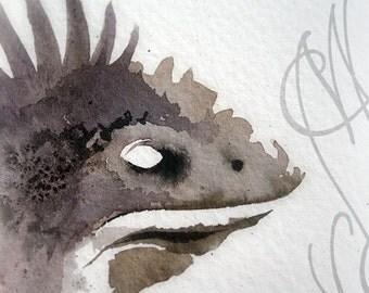 "Martinefa's Original watercolor and Ink, presented in hand personalised frame - ""Lizard"""