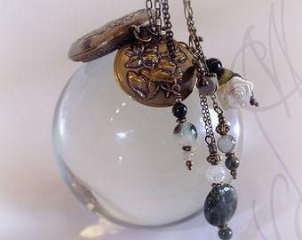 """Handcrafted and fine necklace with Art Nouveau touch - Necklace 10 - """"Mon coeur dans un écrin"""""""